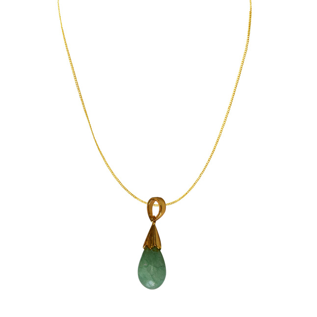 10.09 cts Real Drop Green Onyx Sterling Silver Pendant with Gold Finished Chain for Women (SDS319-10.09cts)