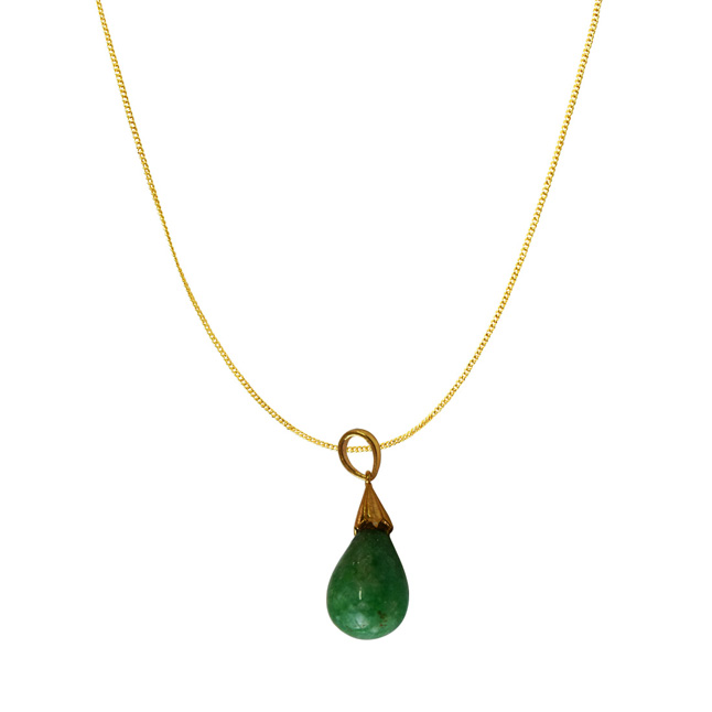 13.68 cts Real Drop Green Onyx Sterling Silver Pendant with Gold Finished Chain for Women (SDS319-13.68cts)