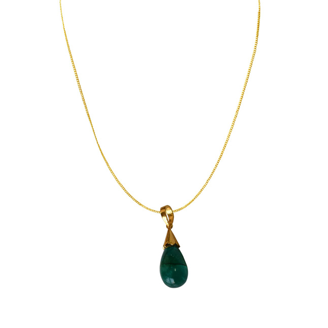 19.30 cts Real Drop Green Onyx Sterling Silver Pendant with Gold Finished Chain for Women (SDS319-19.38cts)