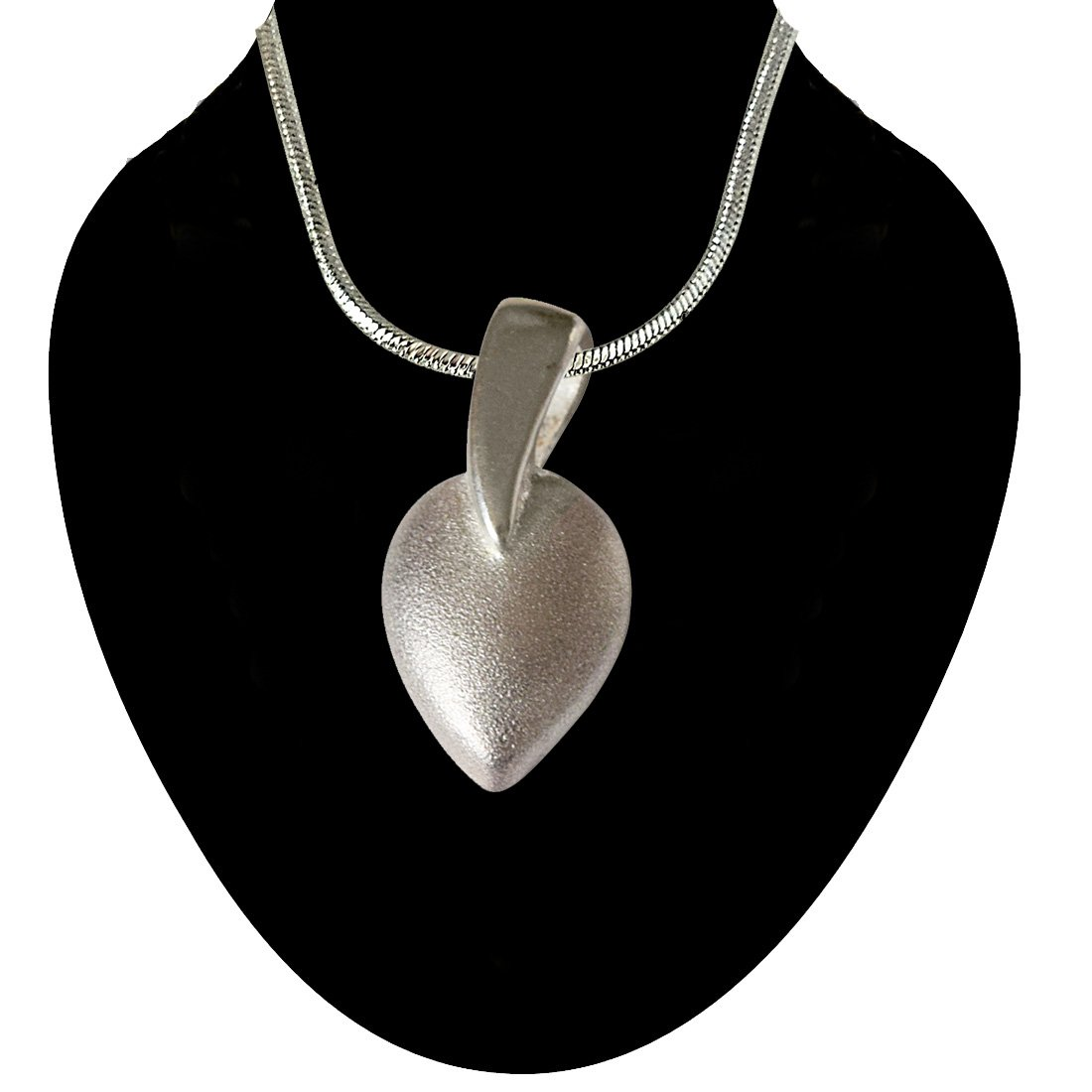 Leaf Shaped 925 Sterling Silver Pendant with Silver Finished Chain for Girls (SDS41)