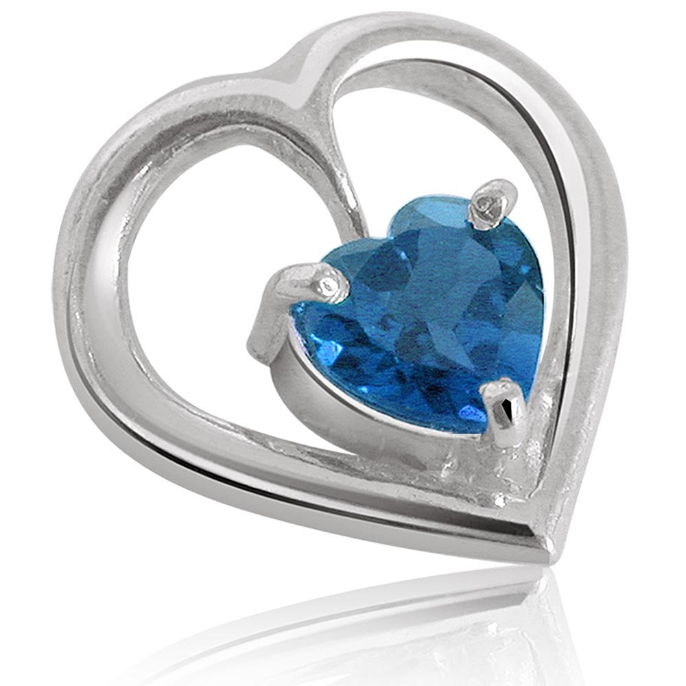 Topaz Temptation - Heart Shaped Blue Topaz & Sterling Silver Pendant for Girls (SDS43)