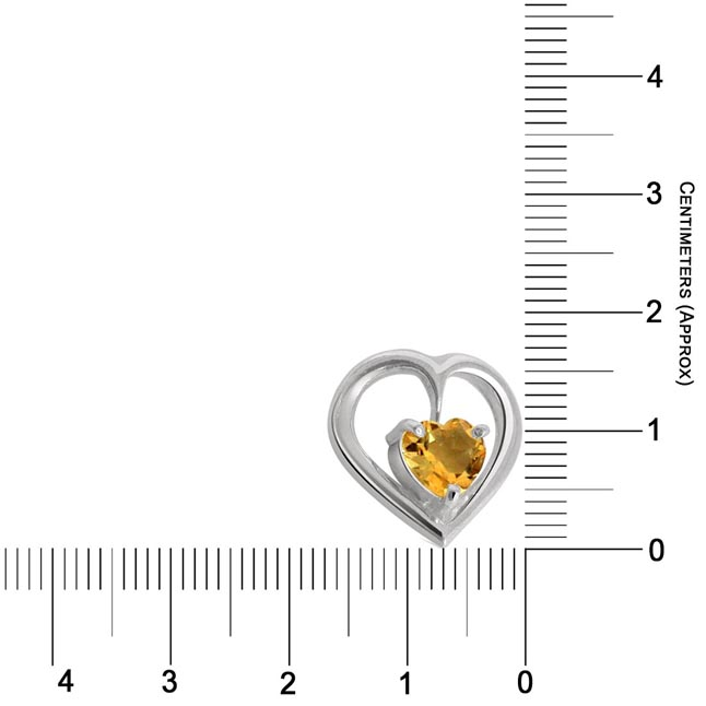 Heart Shape Golden Topaz & Sterling Silver Pendant with Silver finished Chains for Girls (SDS47)