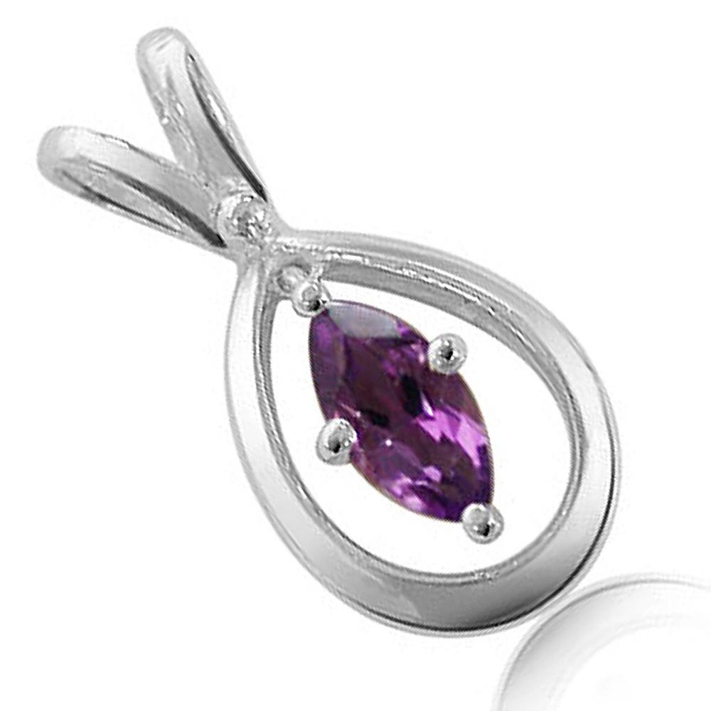 Exceptional - Marquise Shaped Amethyst & Sterling Silver Pendant for Girls (SDS58)