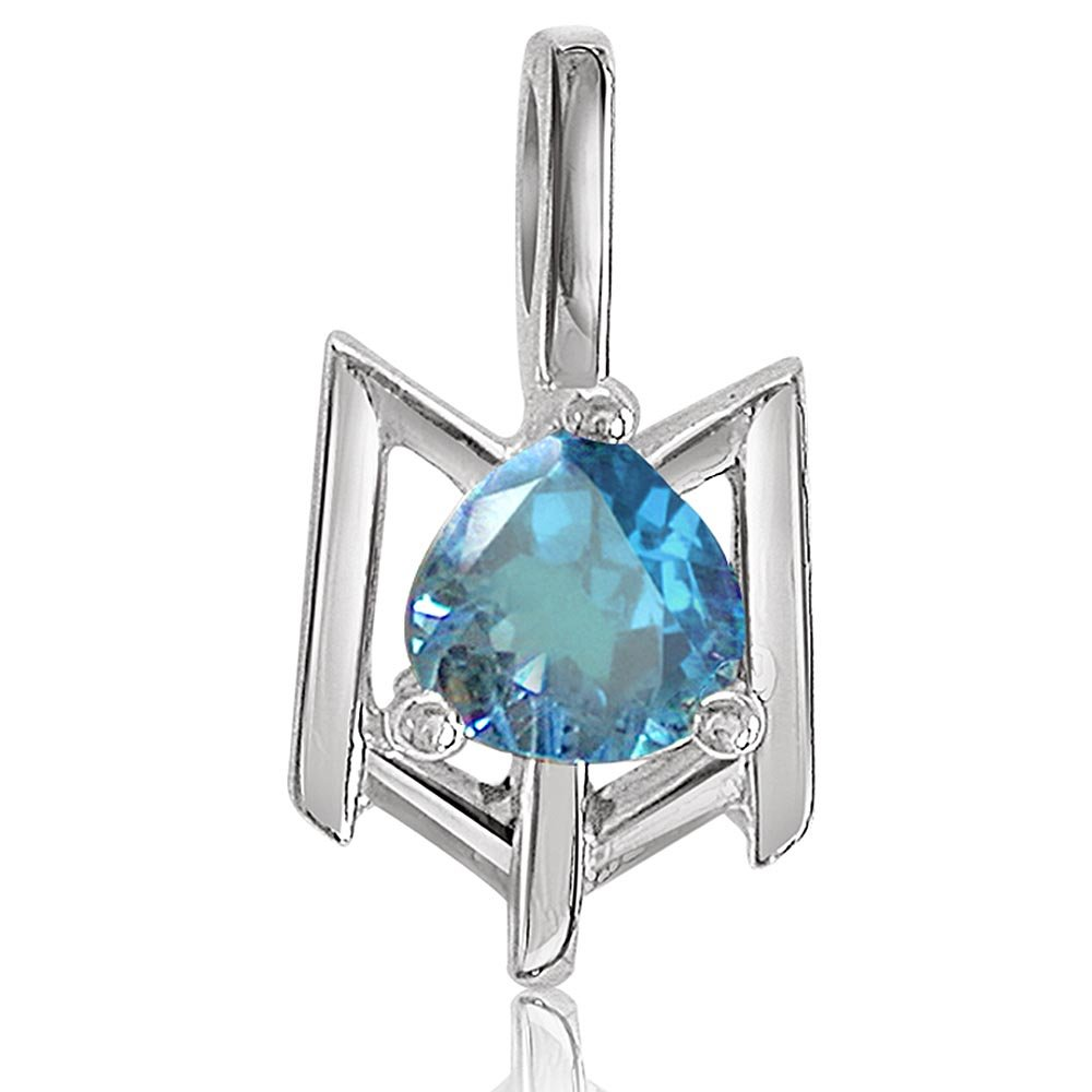 Beguiling Blue - Heart Shaped Blue Topaz & Sterling Silver Pendant for Girls (SDS66)