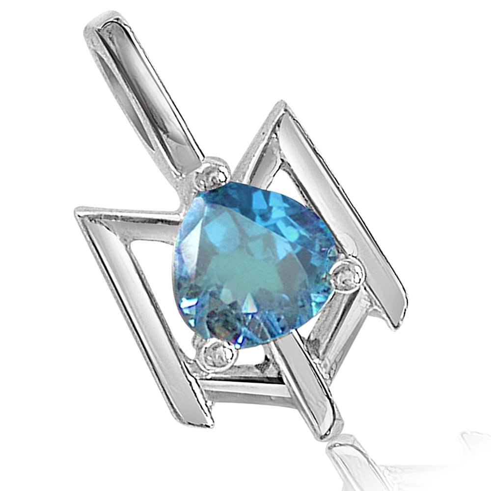 Beguiling Blue - Heart Shaped Blue Topaz & Sterling Silver Pendant for Girls (SDS66)