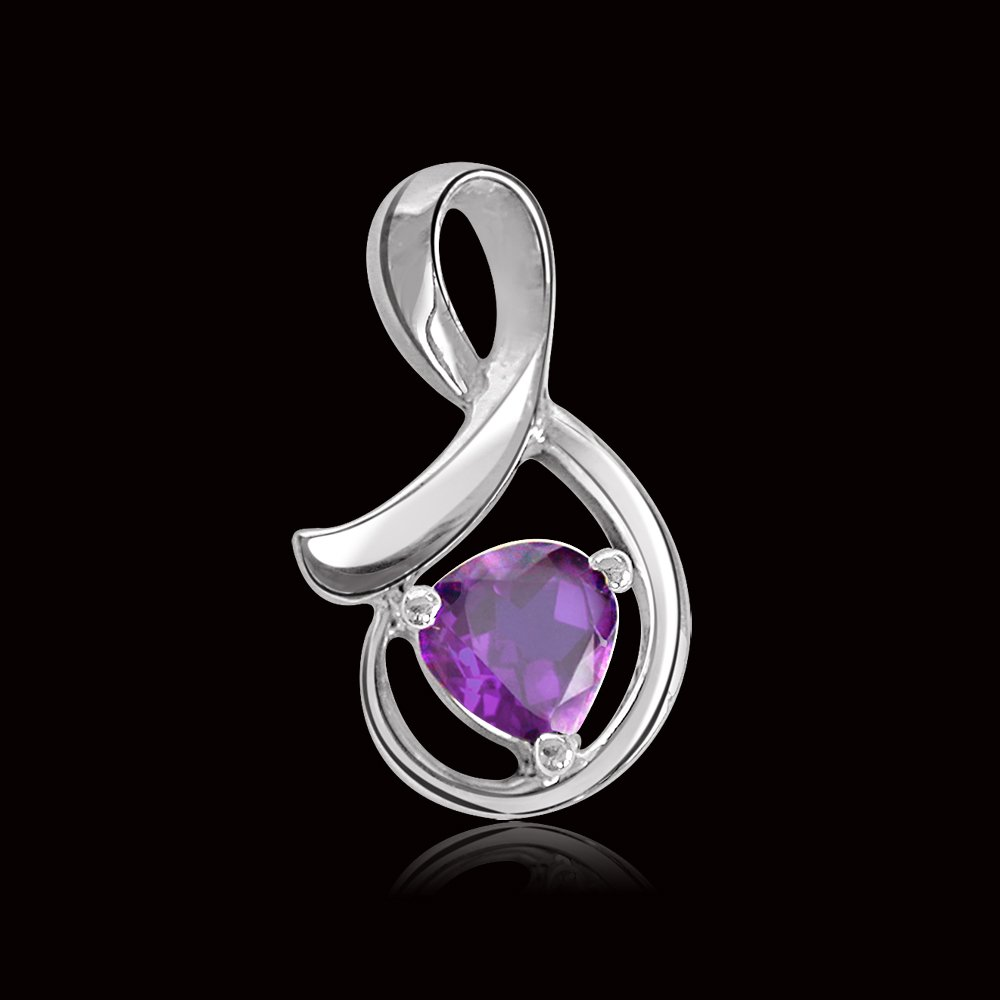 Heart Shaped Amethyst & Sterling Silver Pendant for Girls (SDS67)