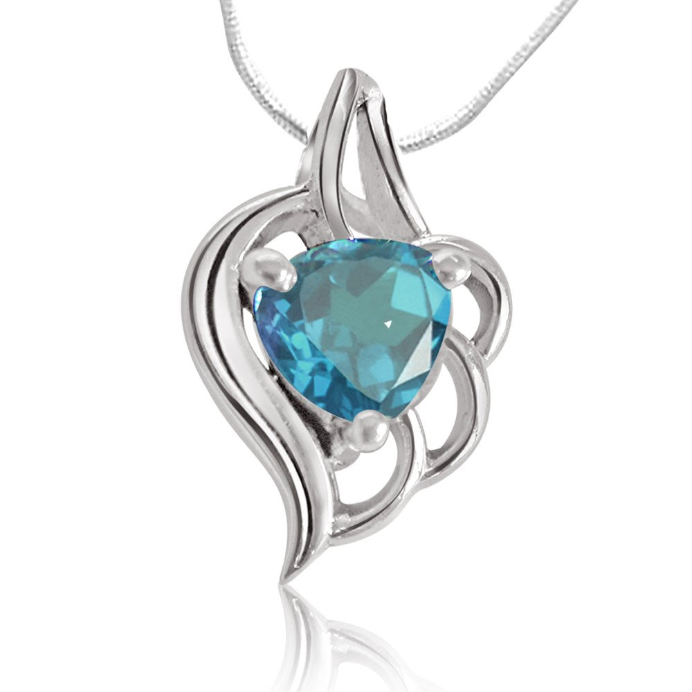 Heart Shape Blue Topaz & Sterling Silver Pendant with Silver Finished chain for Girls (SDS68)