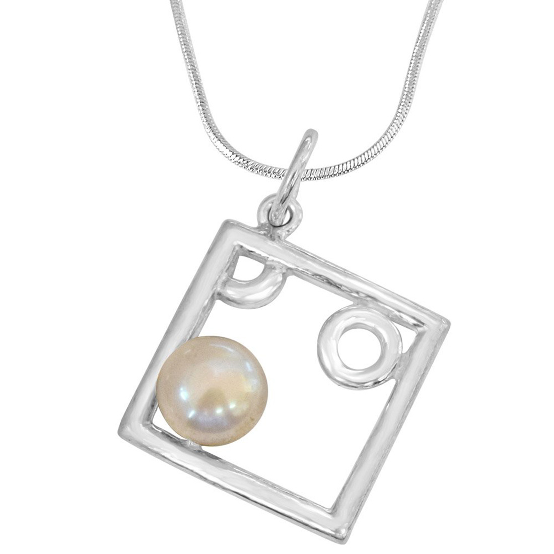 Pearl Delight - Square Shaped Real Pearl and Sterling Silver Pendant with Silver Finished Chain for Girls (SDS79)