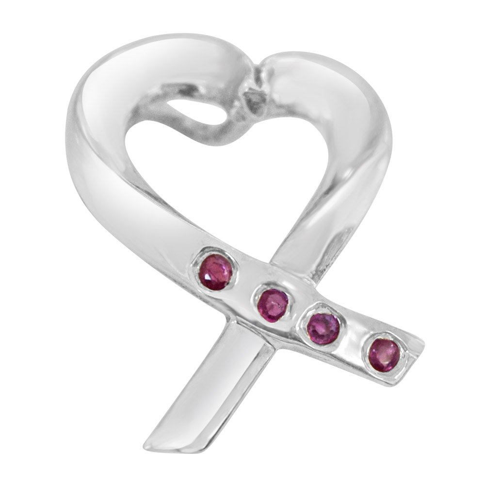 Romantic Ruby - Heart Shaped Real Red Ruby and Sterling Silver Pendant with Silver Finished Chain for Girls (SDS80)