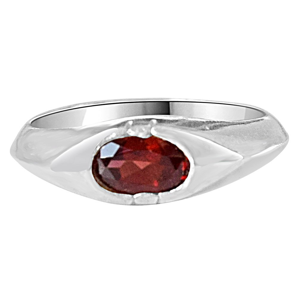Oval Shaped Red Garnet Gemstone 925 Sterling Silver Ring for Women (SDS86)