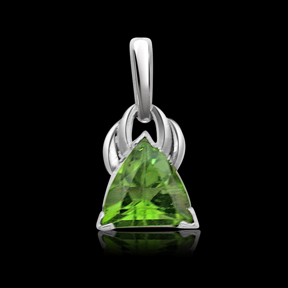 Trillion Shape Green Peridot & Sterling Silver Pendant for Girls (SDS94)