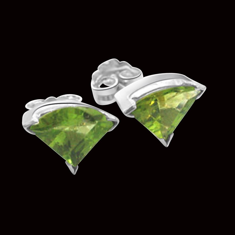 Bloom - Trillion shaped Green Peridot Gemstone & Sterling Silver Earrings for Women (SDS95)