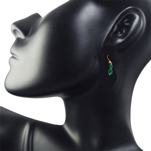 Magical Feelings - Real Oval Emerald & Green Malachite Bead Hanging Earrings for Women (SE100)