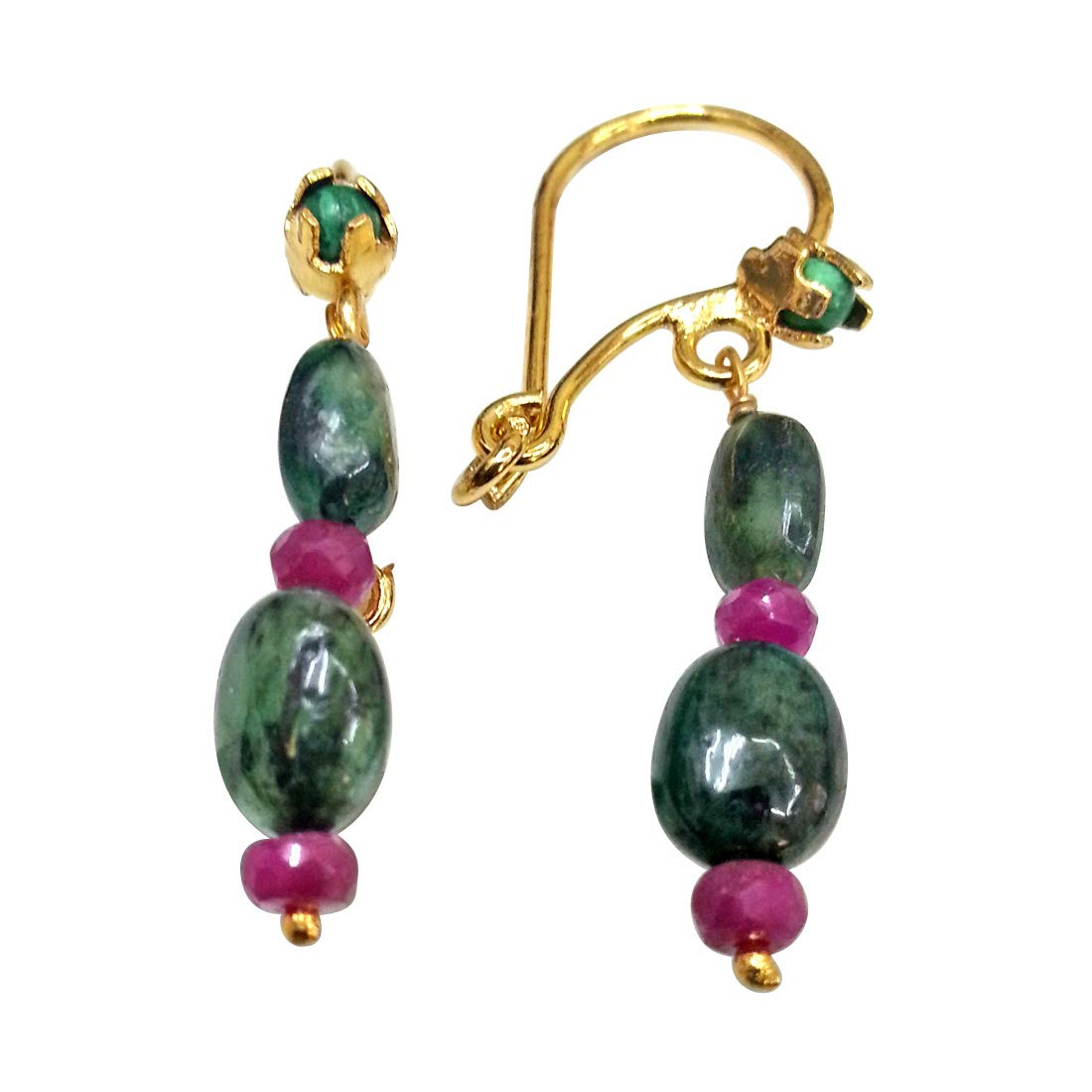 Enriching Elegance - Real Oval Emerald & Red Ruby Beads Hanging Earrings for Women (SE101)