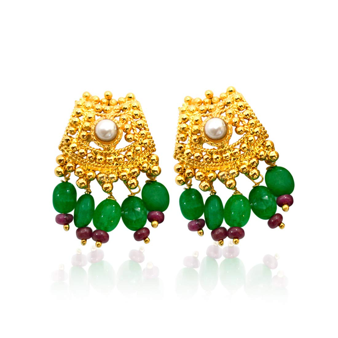 Real Freshwater Pearl, Ruby, Emerald & Gold Plated Earrings for Women (SE107)