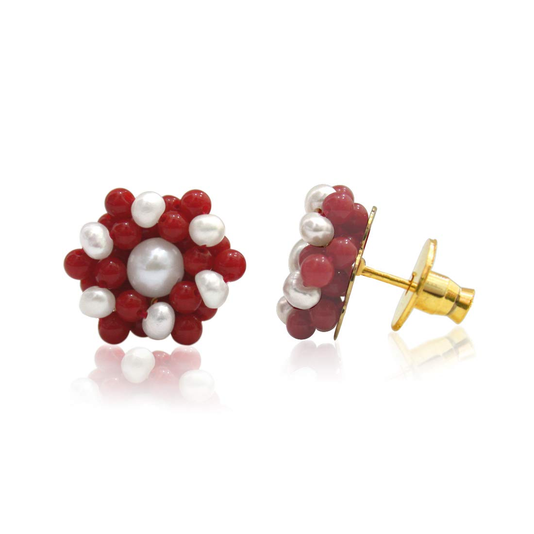 Real Freshwater Pearl & Red Coral Beads Kuda Jodi Earrings for Women (SE108)