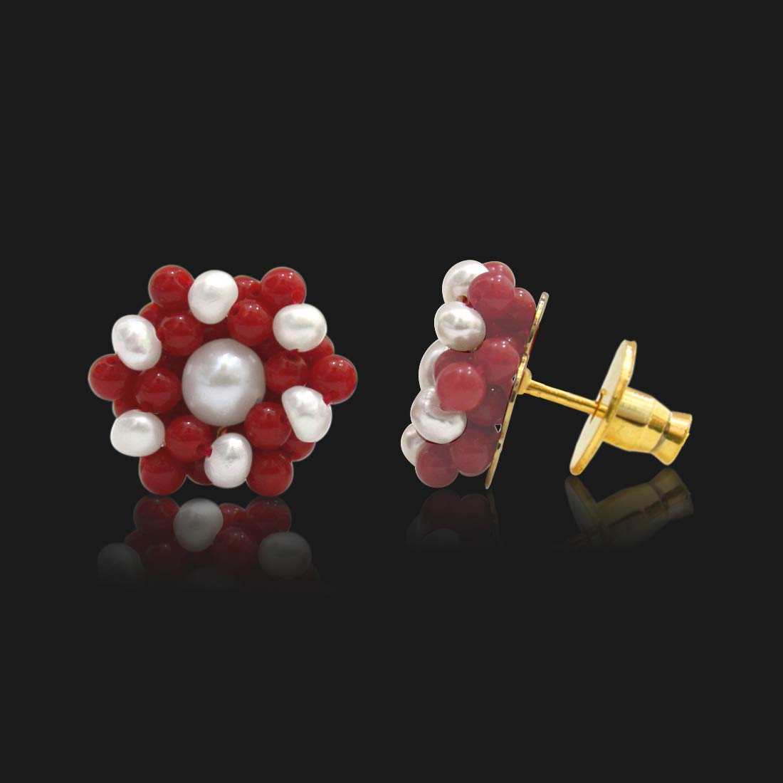 Real Freshwater Pearl & Red Coral Beads Kuda Jodi Earrings for Women (SE108)