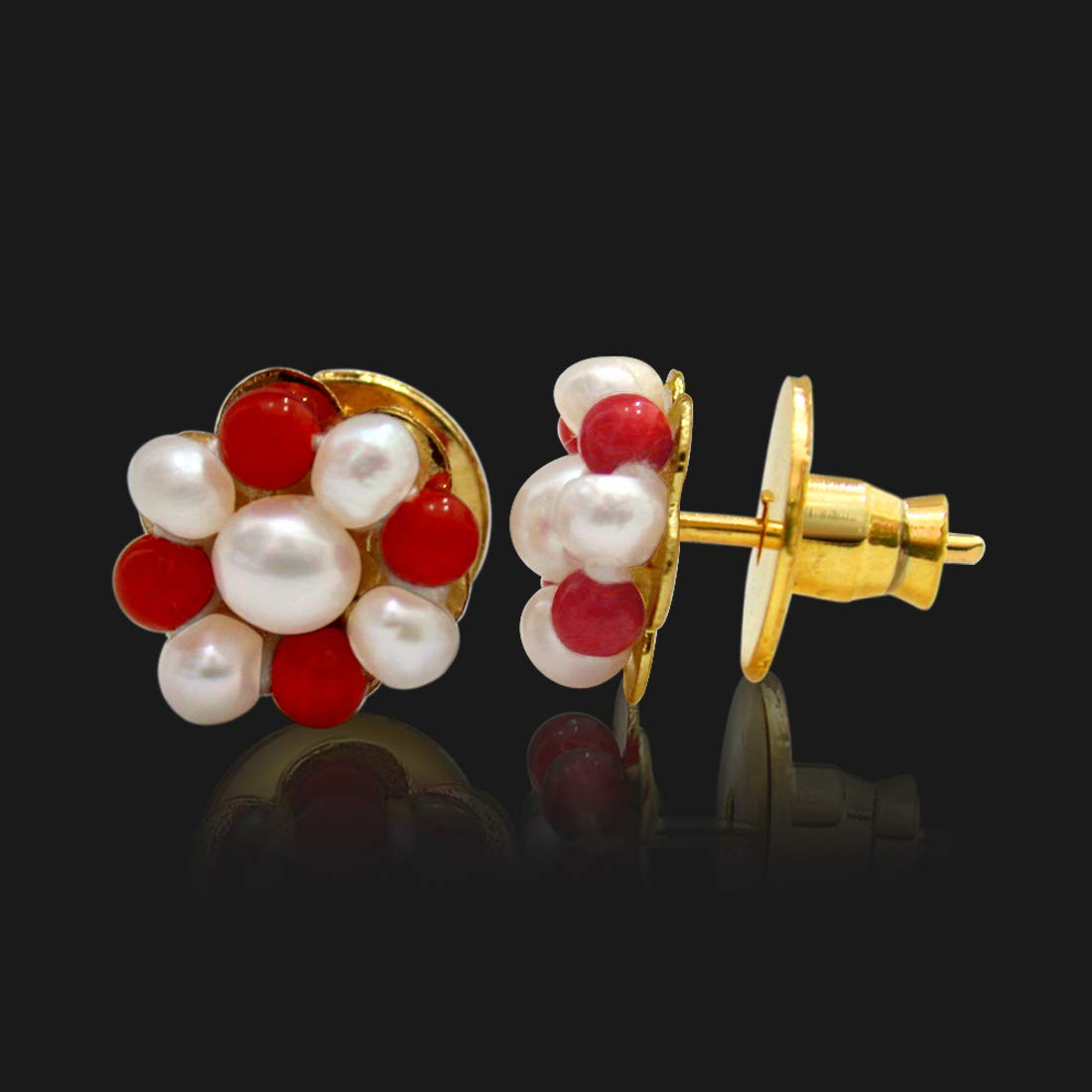 Real Freshwater Pearl & Red Coral Beads Kuda Jodi Earrings for Women (SE109)