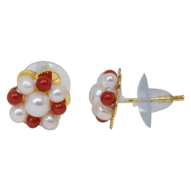 Pearl Red Coral Earrings -Kudajodi