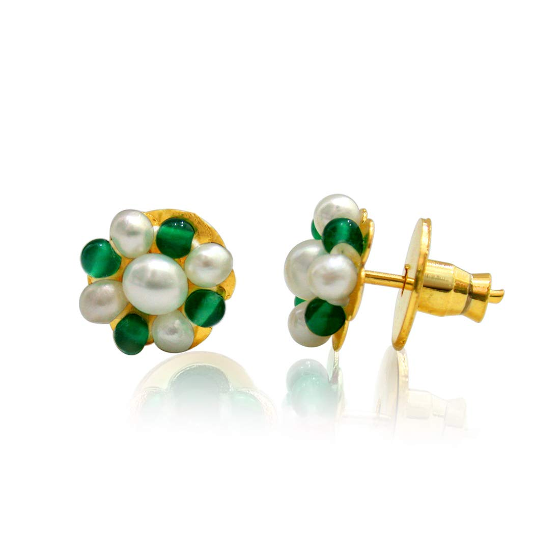 Real Freshwater Pearl & Green Onyx Beads Kuda Jodi Earrings for Women (SE110)