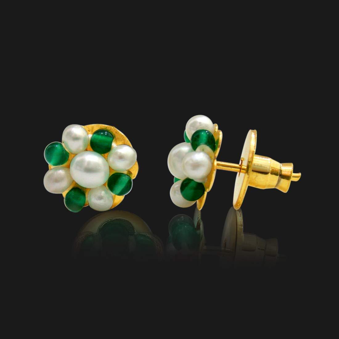 Real Freshwater Pearl & Green Onyx Beads Kuda Jodi Earrings for Women (SE110)
