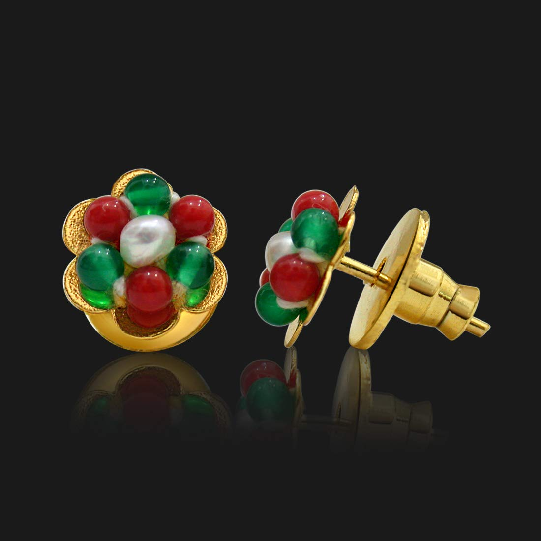 Real Green Onyx & Red Coral Beads Kuda Jodi Earrings for Women (SE111)