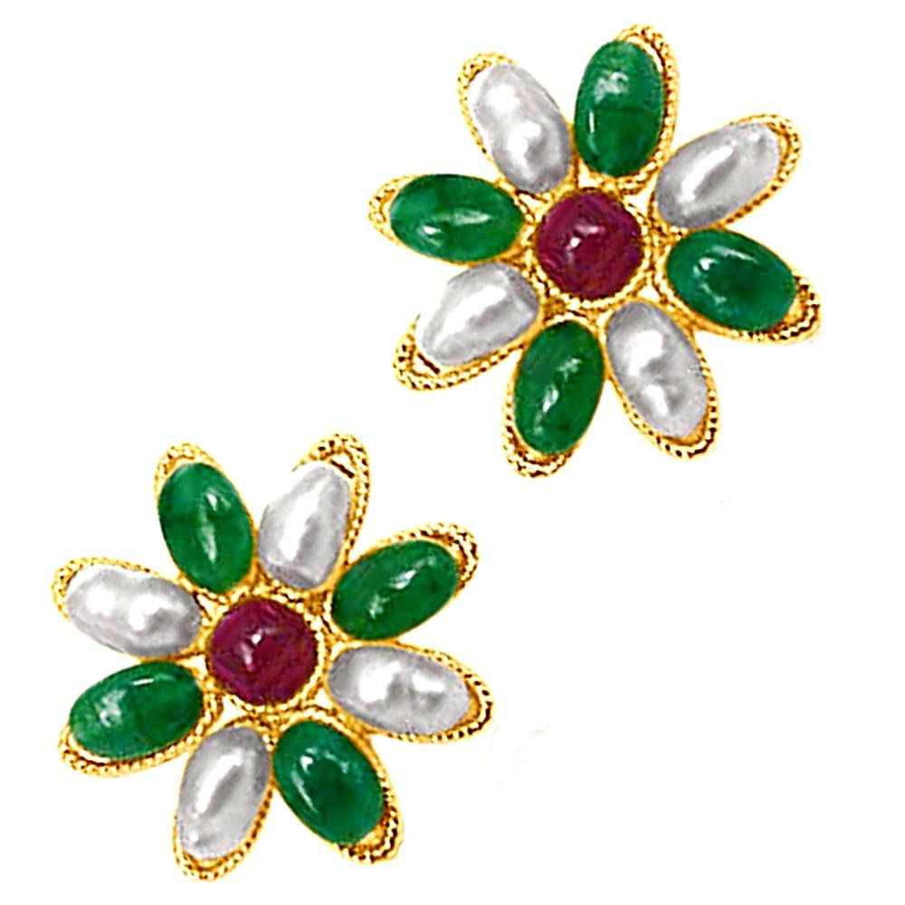 Star Shaped Real Ruby & Emerald & Rice Pearl Earrings for Women (SE122)