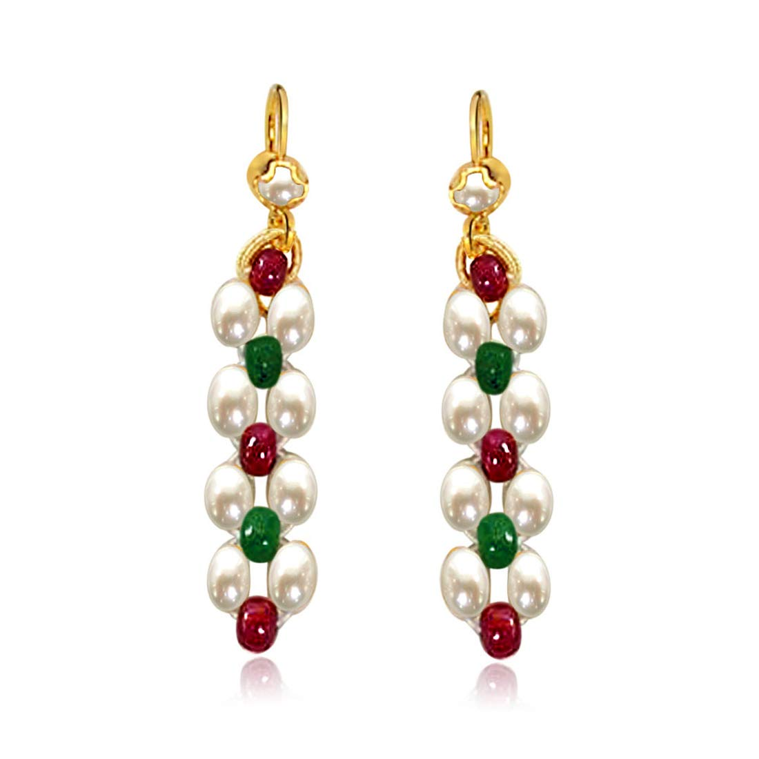 Dangling Rice Pearl, Ruby & Emerald Beads Earrings for Women (SE124)