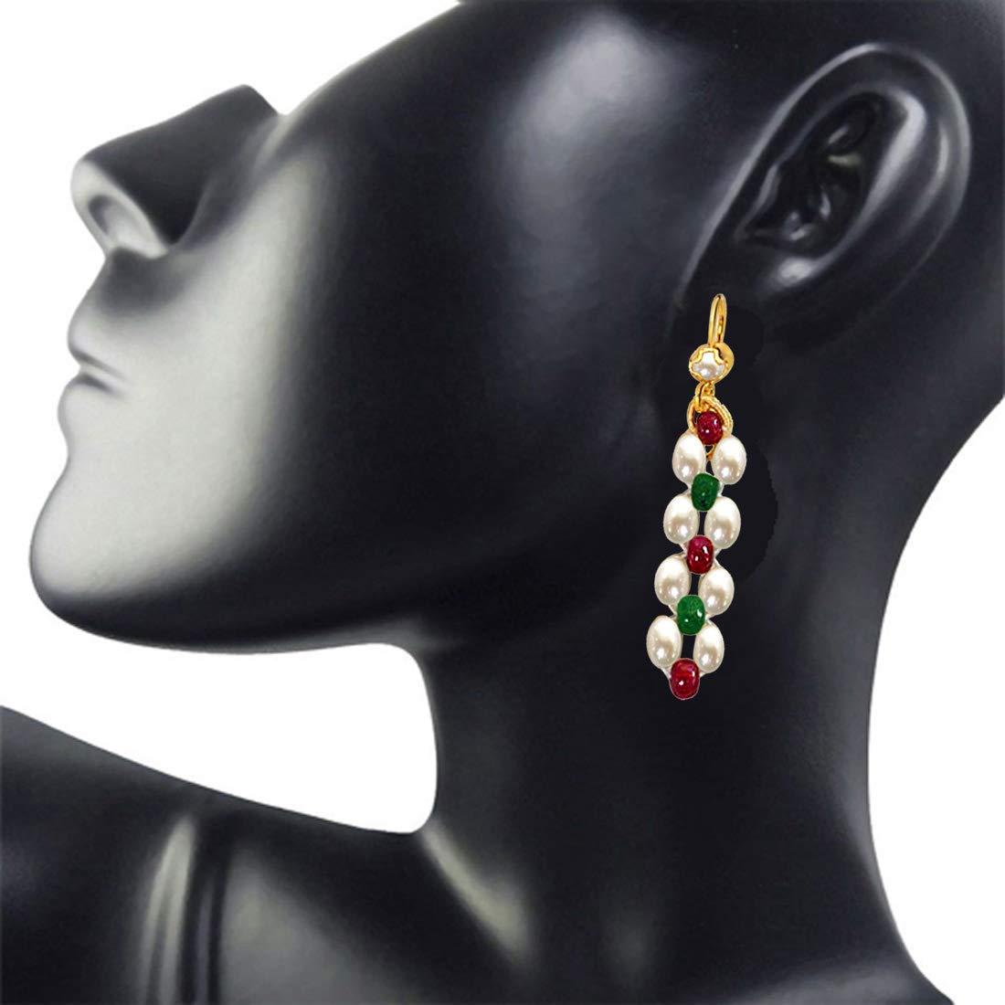 Dangling Rice Pearl, Ruby & Emerald Beads Earrings for Women (SE124)