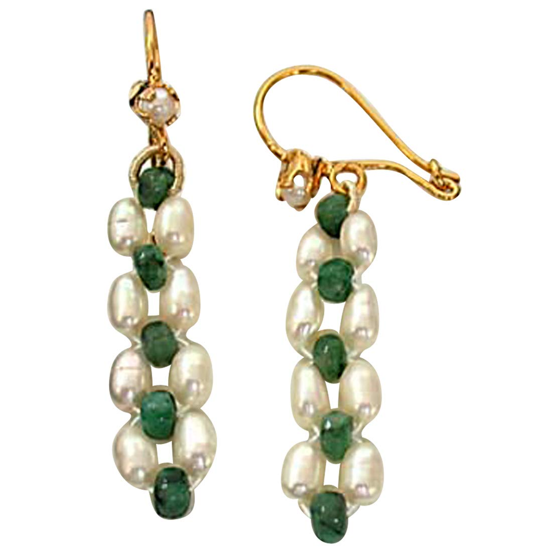 Real Emerald beads & Rice Pearl Hanging Earrings for Women (SE125)