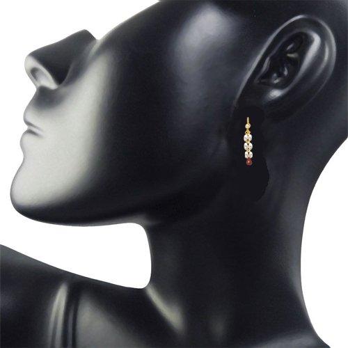 Dangling Real Rice Pearl, Drop Ruby Earrings for Women (SE126)