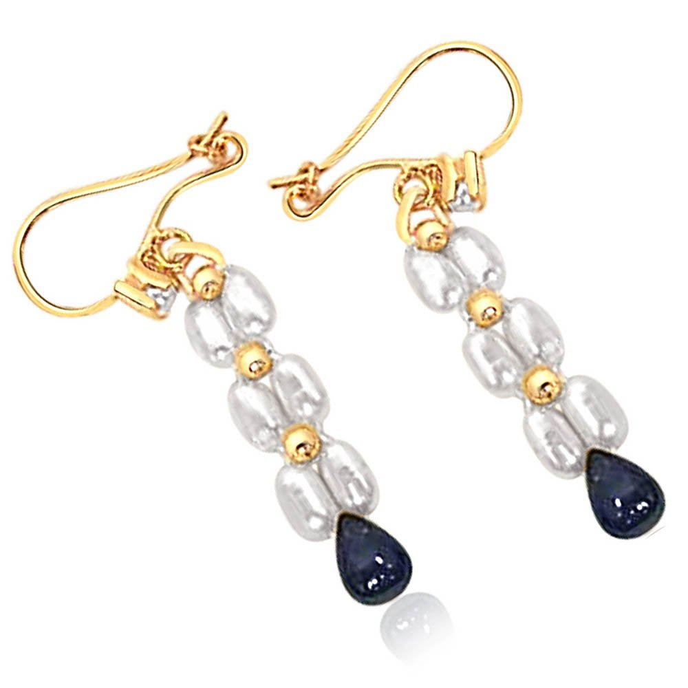 Real Drop Sapphire & Rice Pearl Hanging Earrings for Women (SE127)