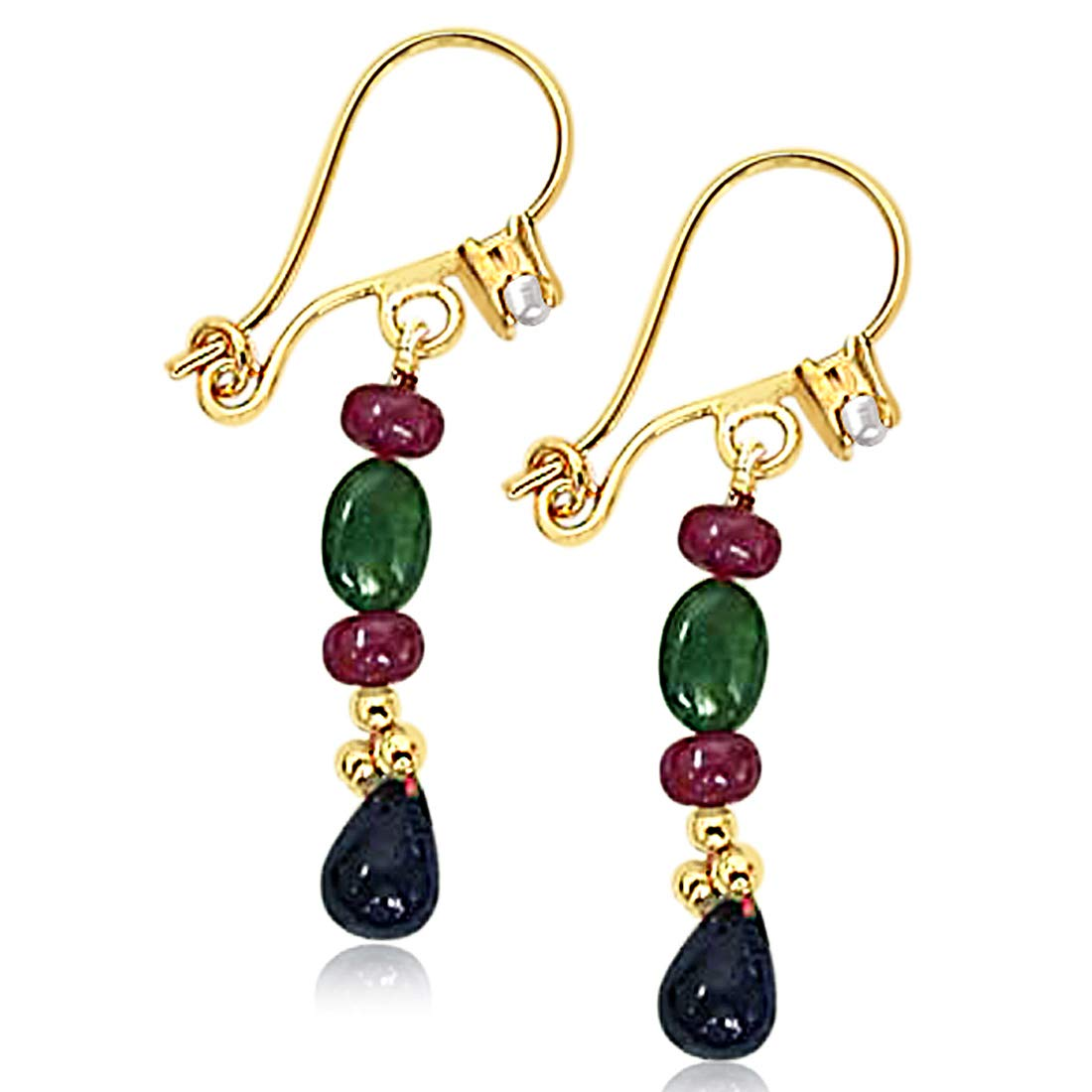 Real Drop Sapphire, Oval Emerald & Ruby Beads Hanging Earrings for Women (SE128)