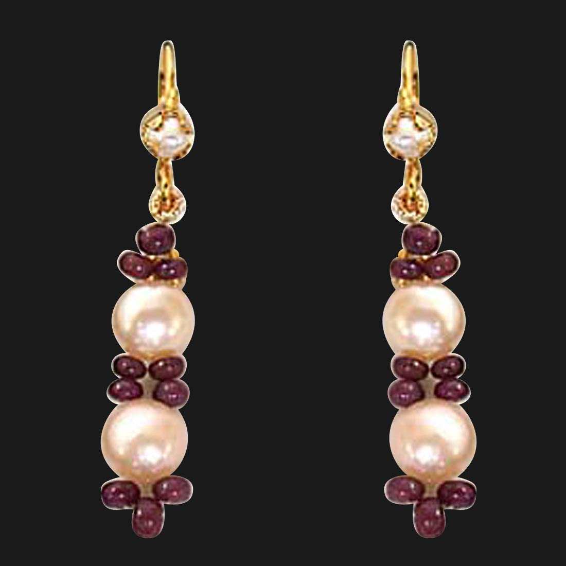 Real Ruby Beads & Peach Button Pearl Hanging Earrings for Women (SE129)