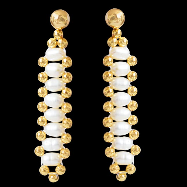 Heavenly - Real Rice Pearl & Gold Plated Beads Hanging Earrings for Women (SE12)