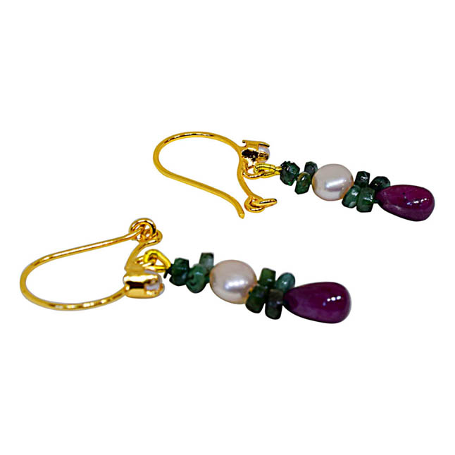Drop Ruby, Emerald Beads & Peach Button Pearl Earrings