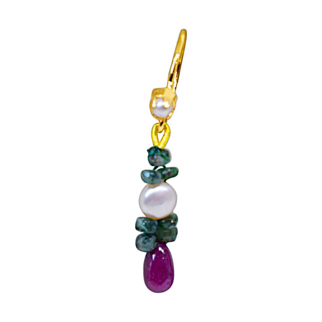 Real Drop Ruby, Emerald Beads & Peach Button Pearl Hanging Earrings for Women (SE130)