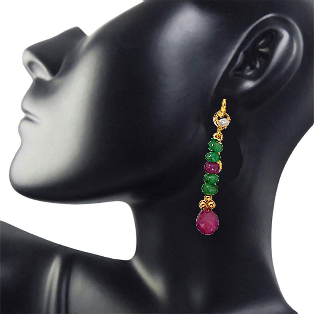 Real Red Ruby & Green Emerald Hanging Earrings for Women (SE131)