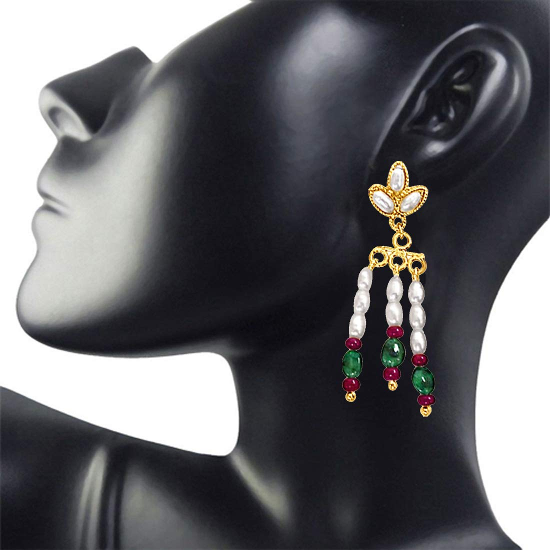 Red Oval Emerald, Red Ruby Beads & Rice Pearl Hanging Earrings for Women (SE132)