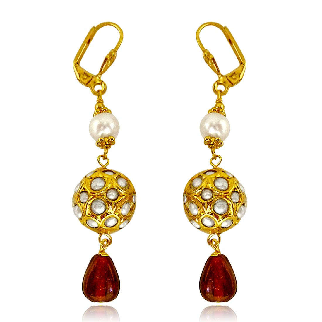 Round Kundan Beads & Red Coloured stone hanging Earrings for Women (SE133)