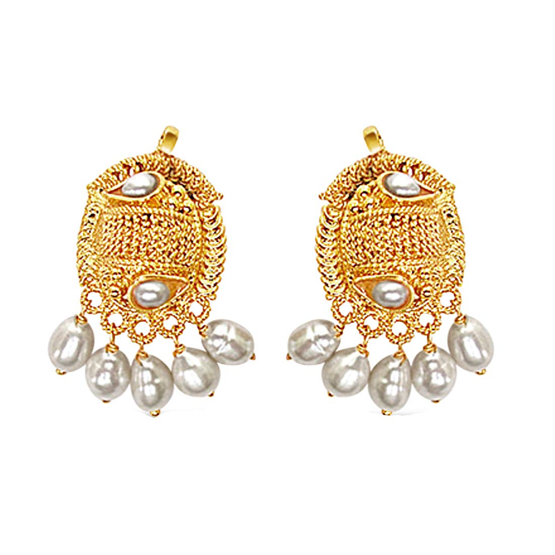Oval Shaped Freshwater Pearl & Gold Plated Earrings for Women (SE138)