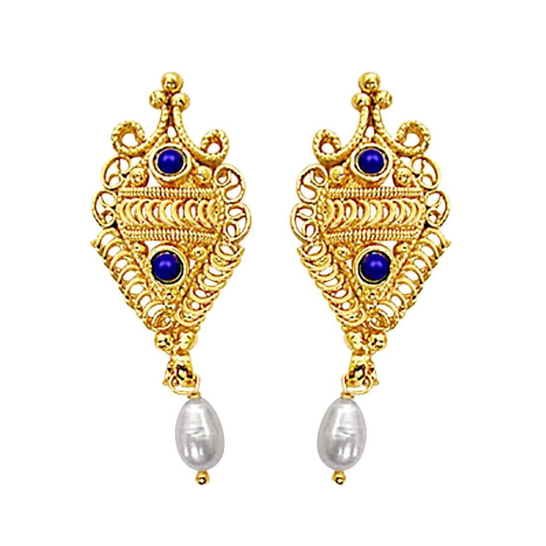Fancy Shaped Freshwater Pearl, Blue Lapiz & Gold Plated Earrings for Women (SE139)