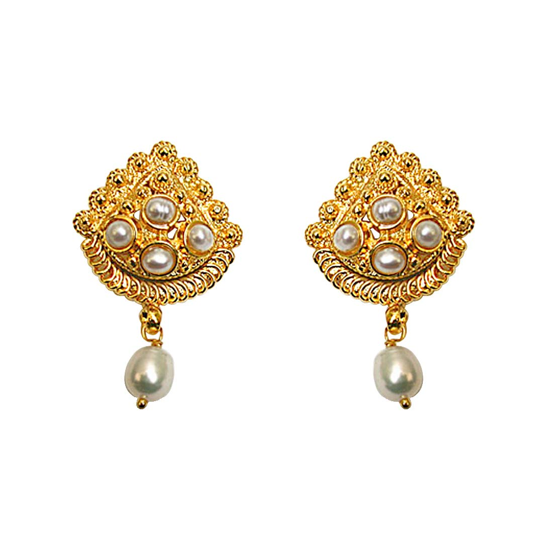 24kt Gold Plated & Freshwater Pearl Earrings for Women (SE140)