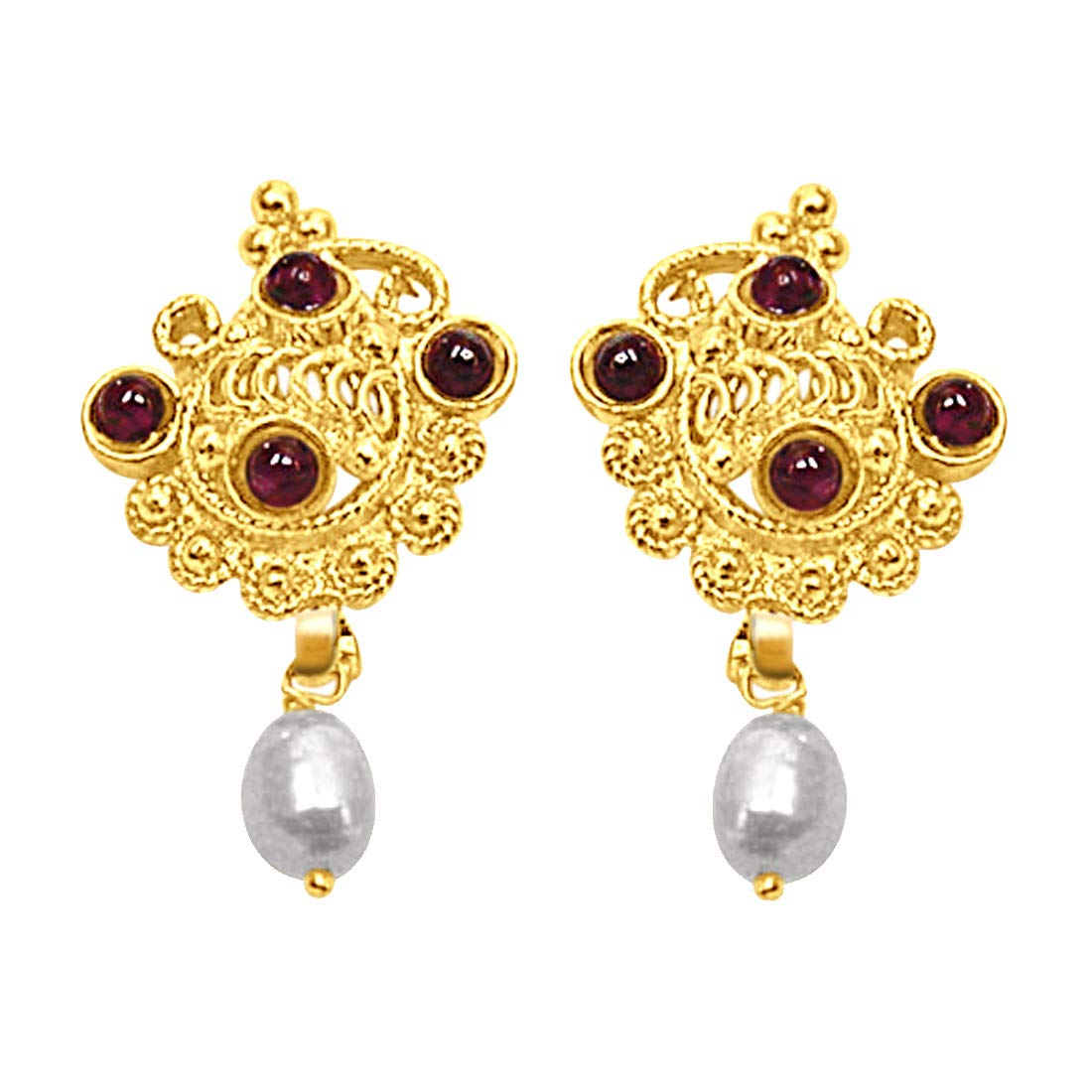 24kt Gold Plated, Freshwater Pearl & Garnet Earrings for Women (SE141)