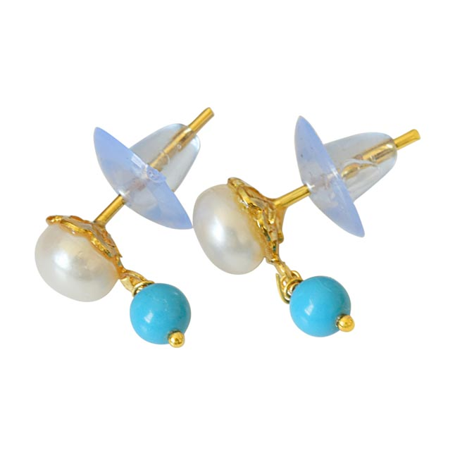 Blue Turquoise Beads and Button Pearl Stud Earrings for Women SE146