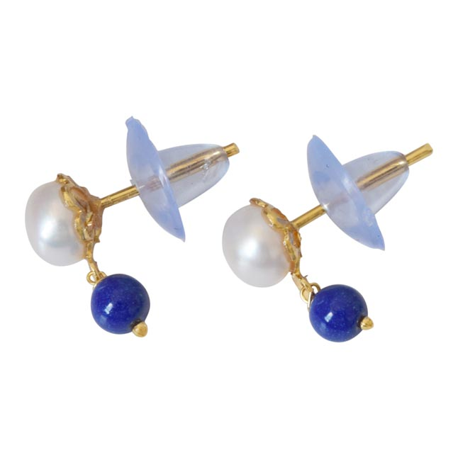 Blue Lapiz Beads and Button Pearl Stud Earrings for Women (SE147)