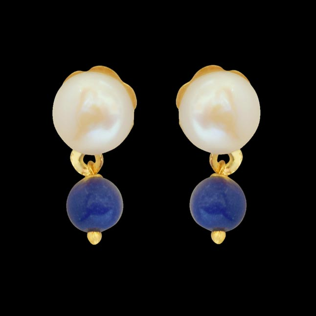 Blue Lapiz Beads and Button Pearl Stud Earrings for Women SE147