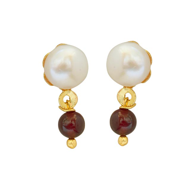 Red Garnet Beads and Button Pearl Stud Earrings for Women SE148
