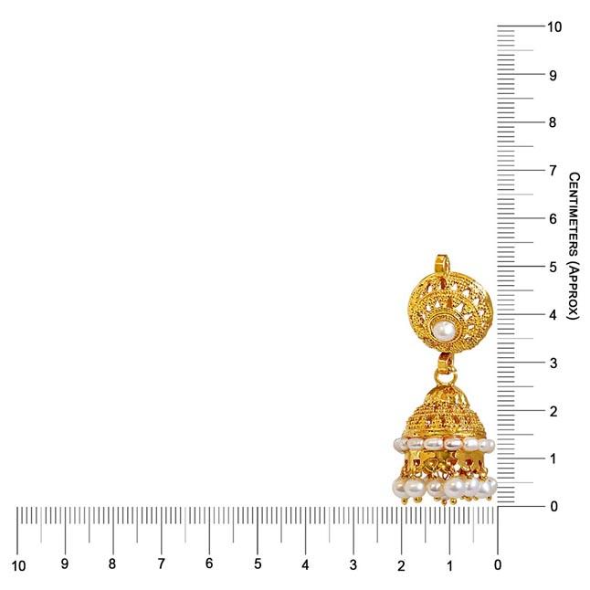 Euphoric Splendor - Freshwater Pearl & Gold Plated Zhumki Earrings for Women (SE14)