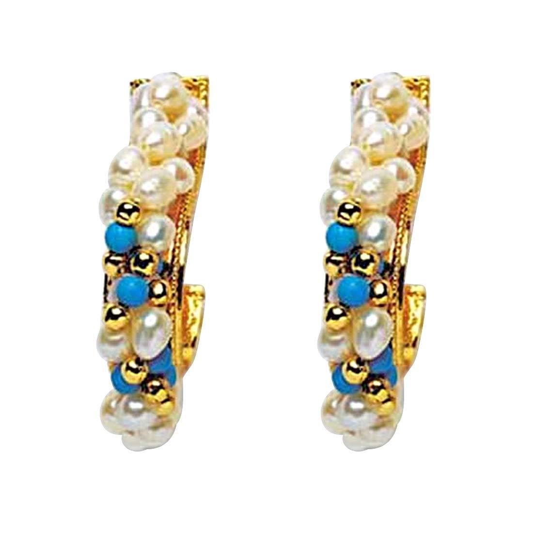 Rapturous Ravishing - Real Rice Pearl & Turquoise Beads Bali Style Earring for Women (SE15)